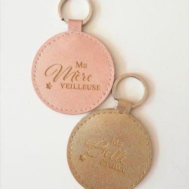 porte clés simili cuir gold